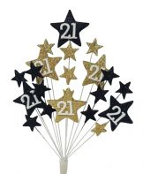 Star age 21st birthday cake topper decoration in black and gold - free postage
